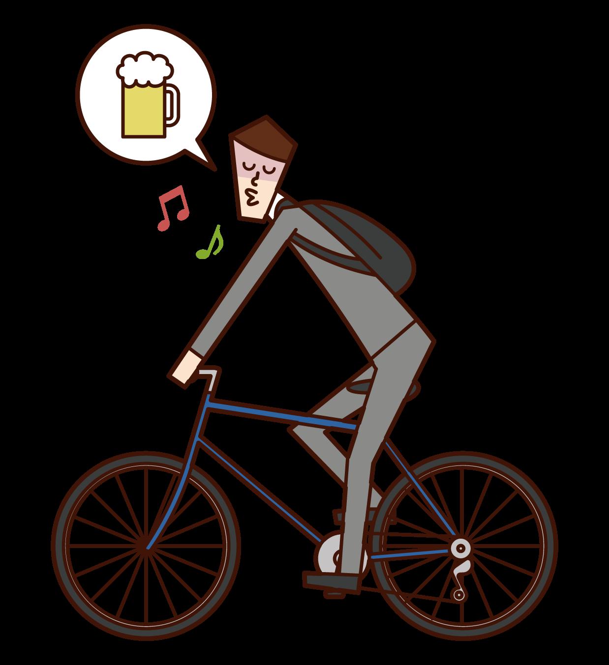자전거로 음주 운전을 하는 사람(남성)의 일러스트
