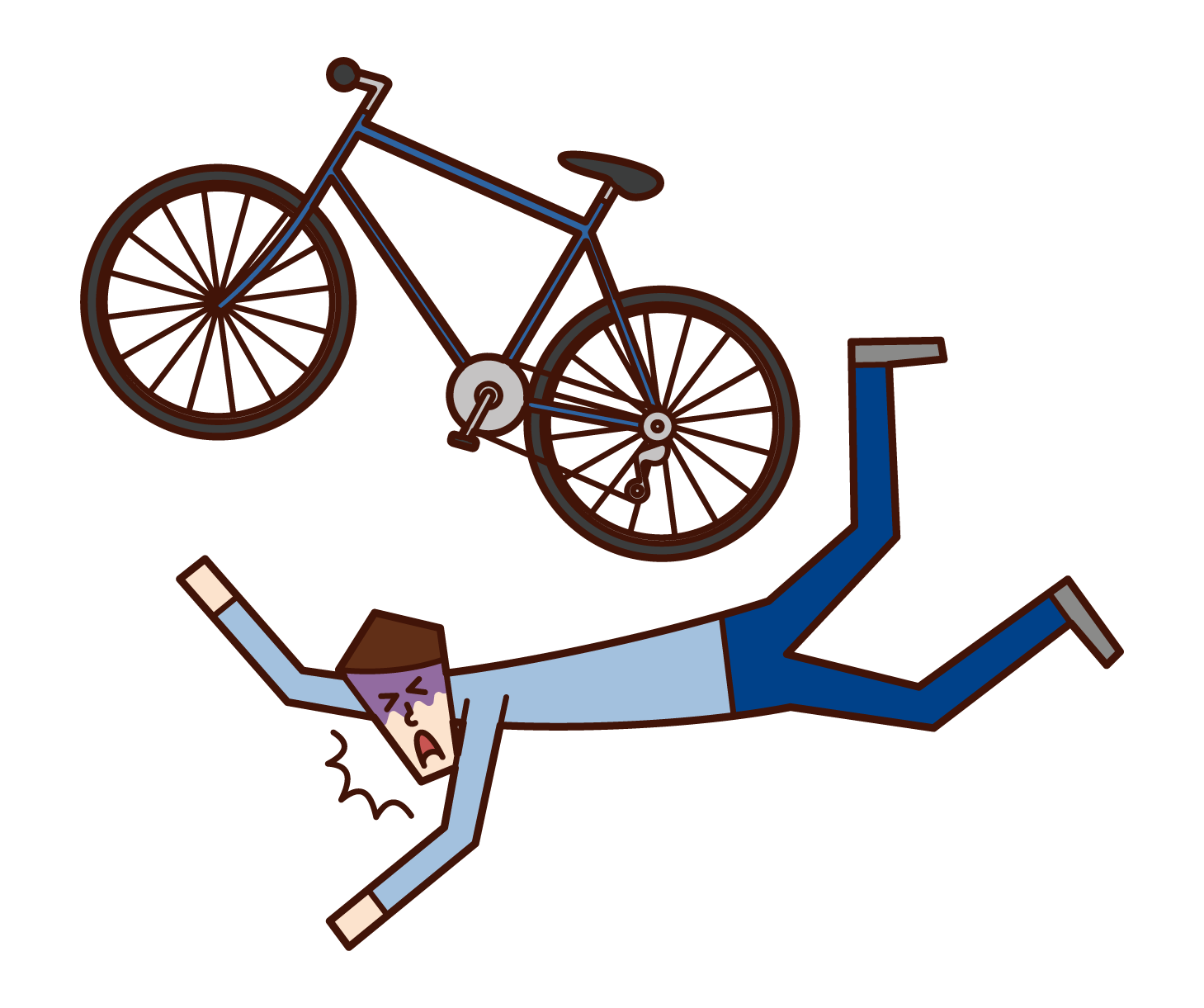 자전거를 타고 넘어진 사람(남성)의 일러스트