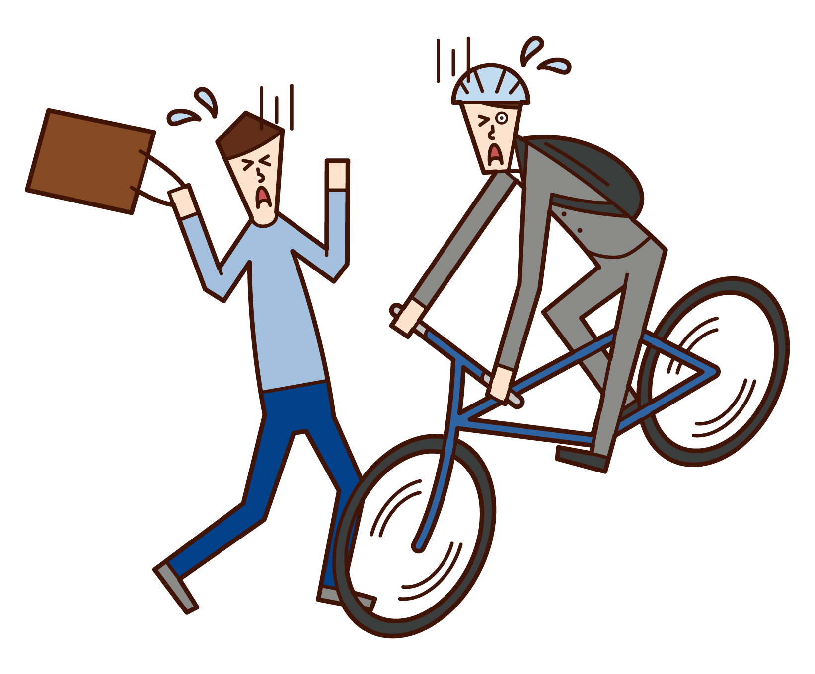 자전거로 충돌하는 사람 (남성)의 그림