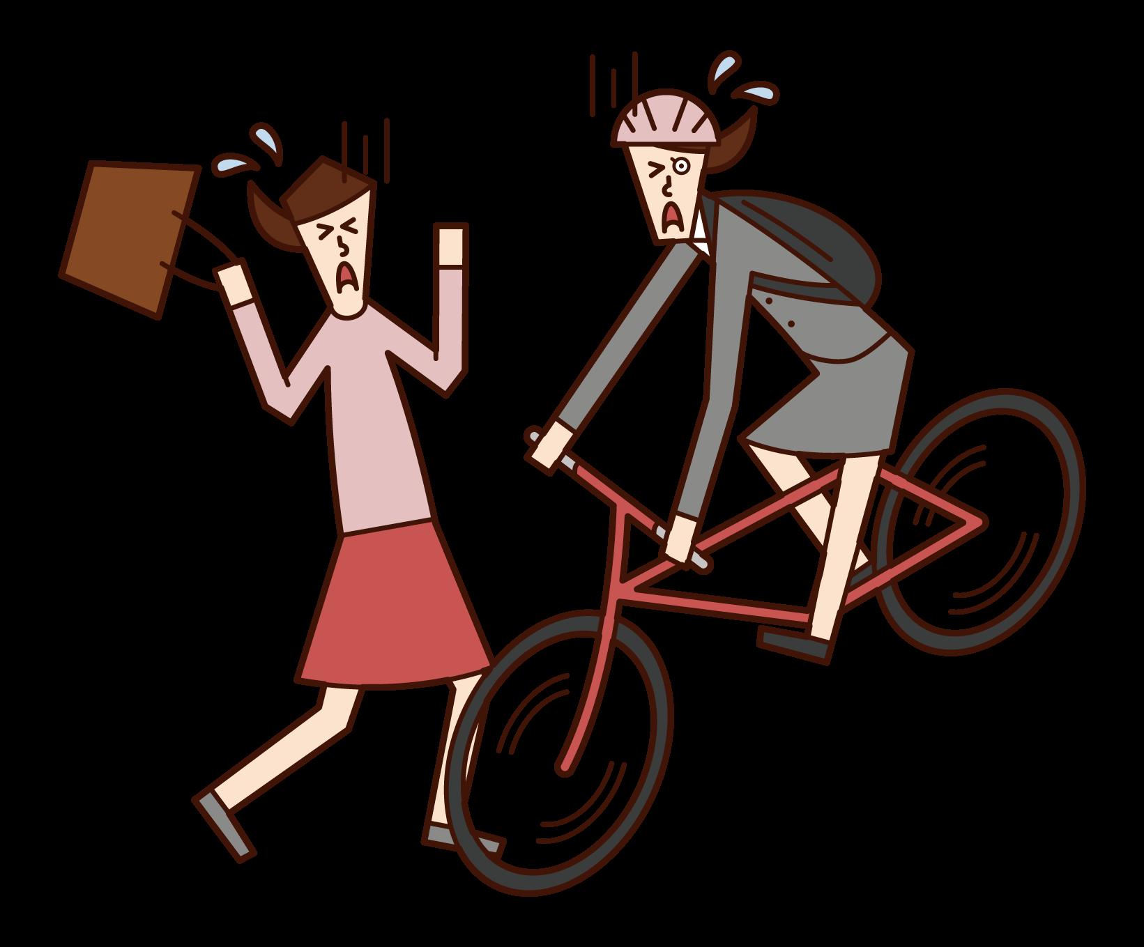 자전거로 충돌하는 사람 (여성)의 그림