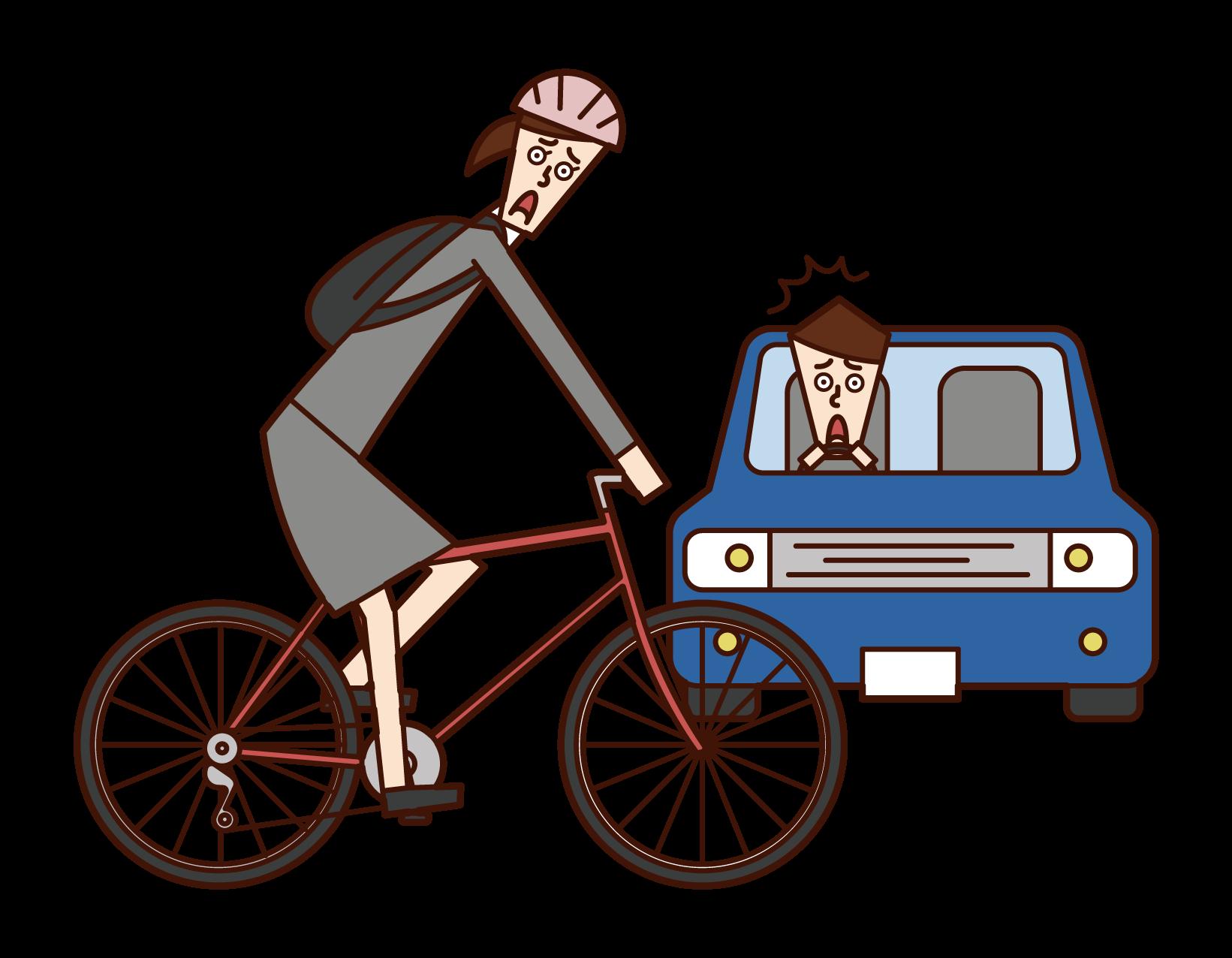 자전거 및 자동차 교통 사고 일러스트