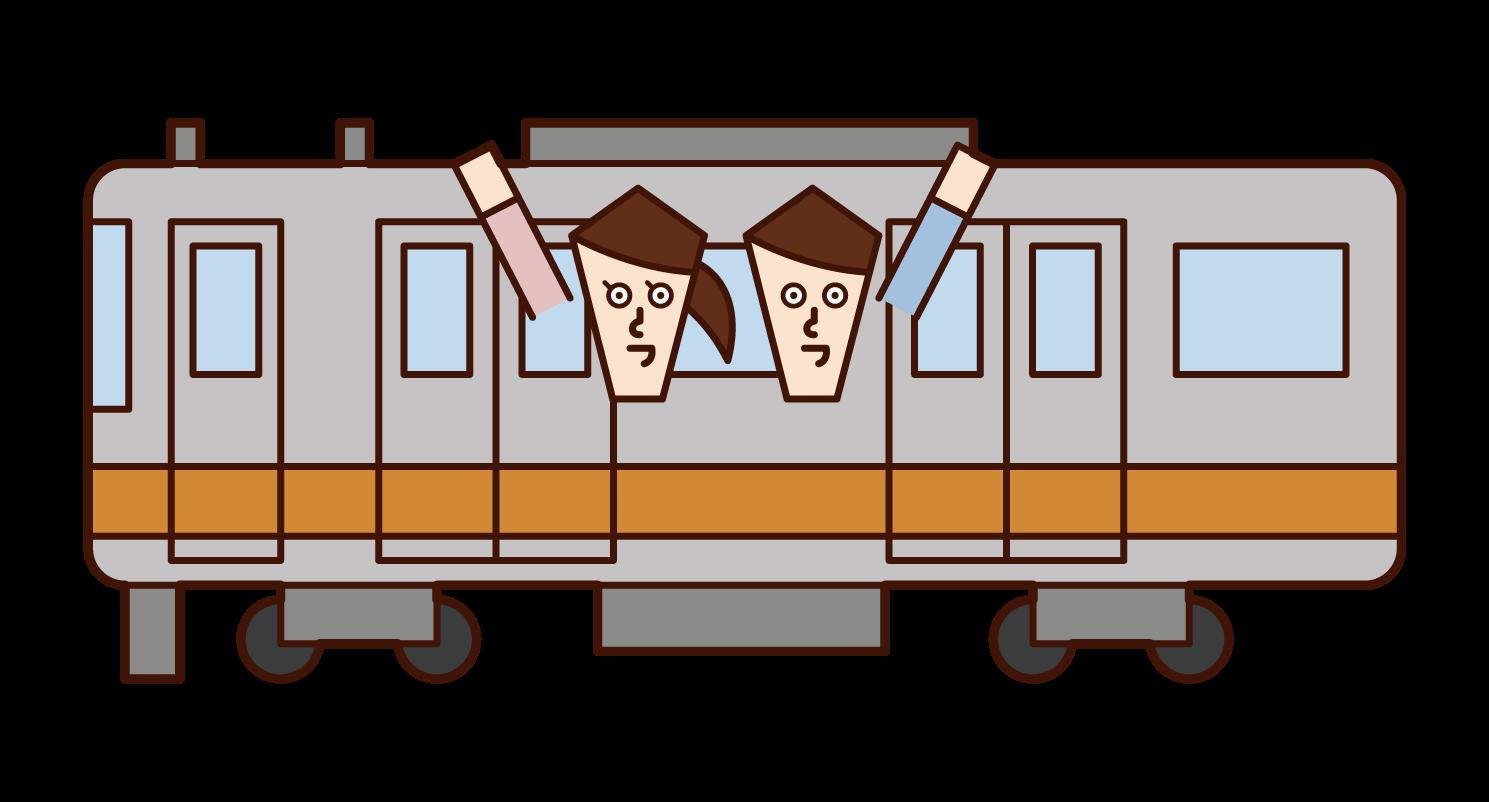 電車に乗るカップルのイラスト