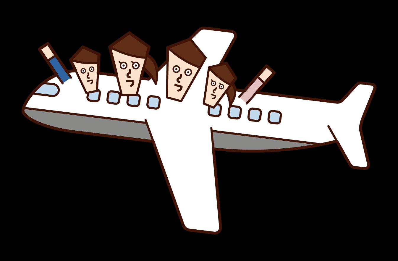 비행기의 가족 일러스트