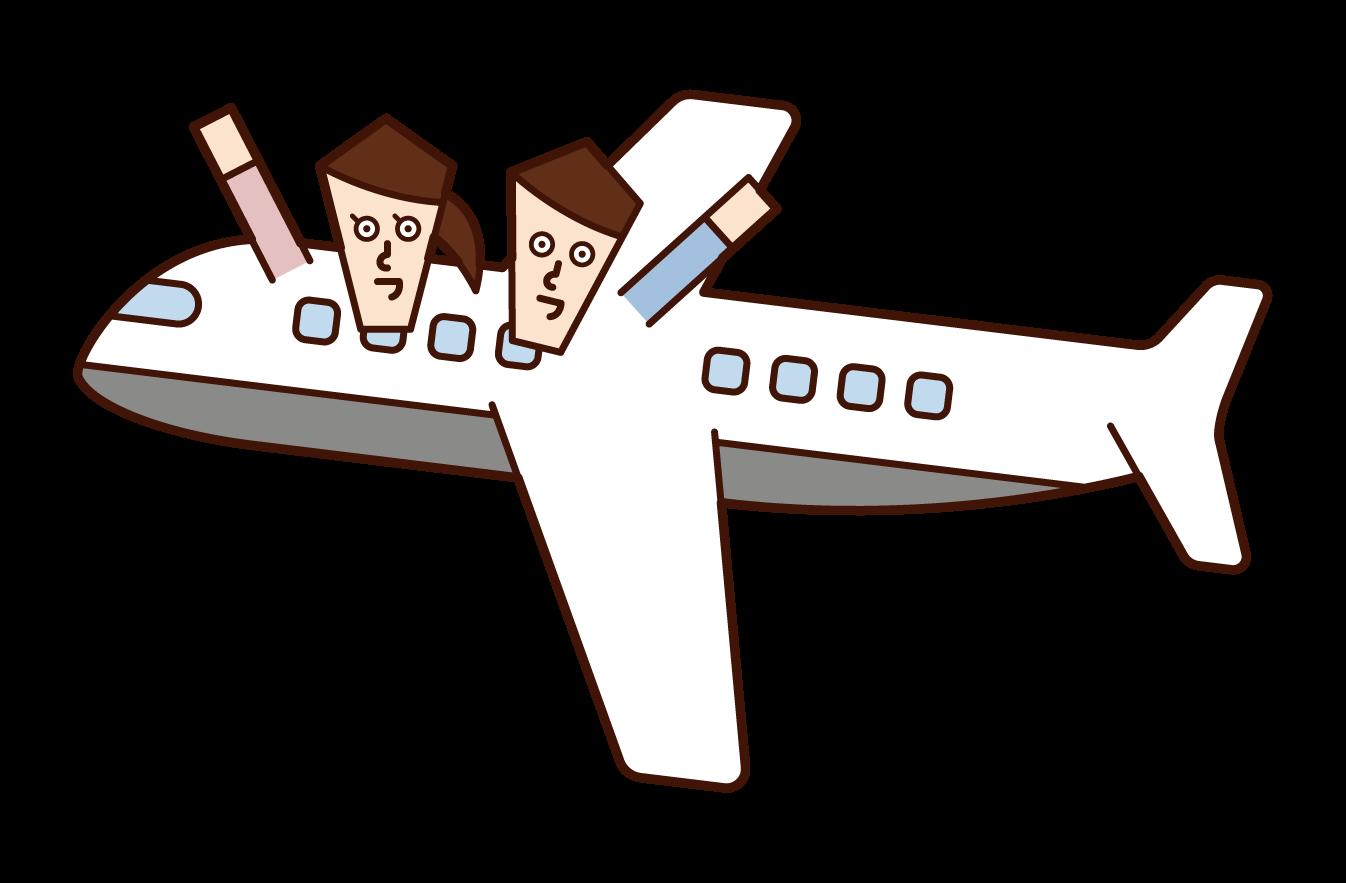 비행기를 여행하는 부부의 일러스트