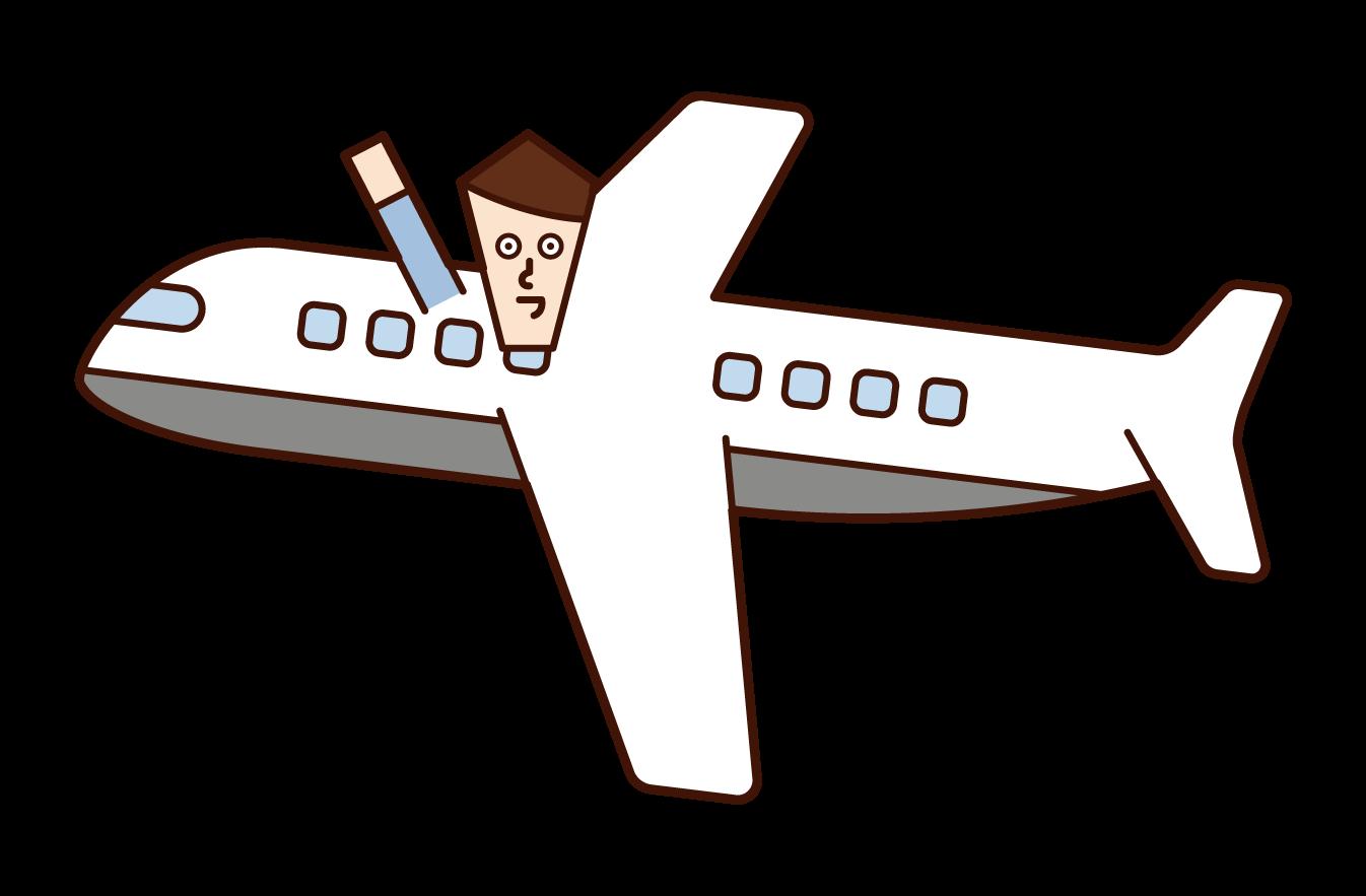 비행기를 타는 사람 (남성)의 그림