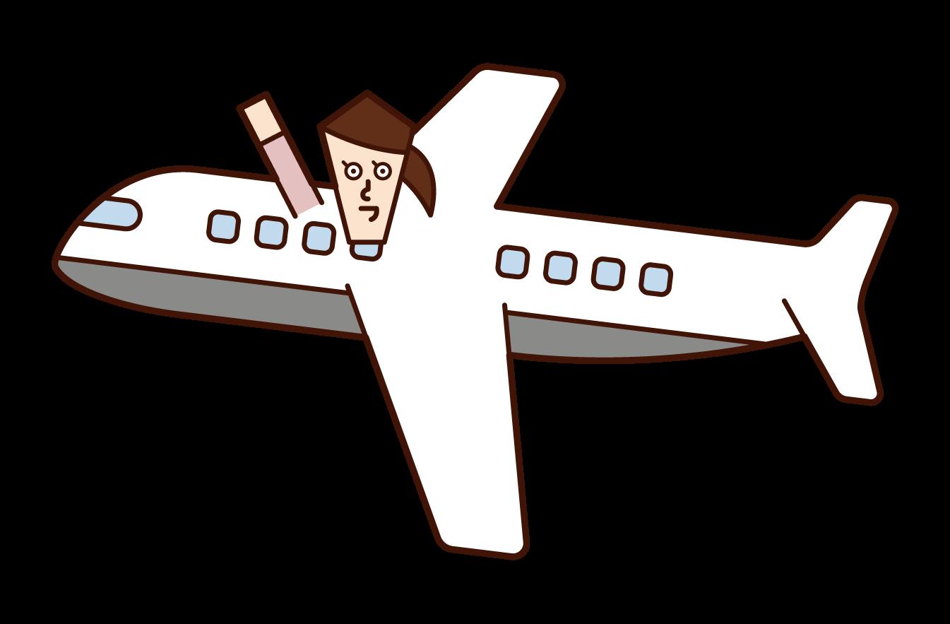 비행기를 타는 사람 (여성)의 그림