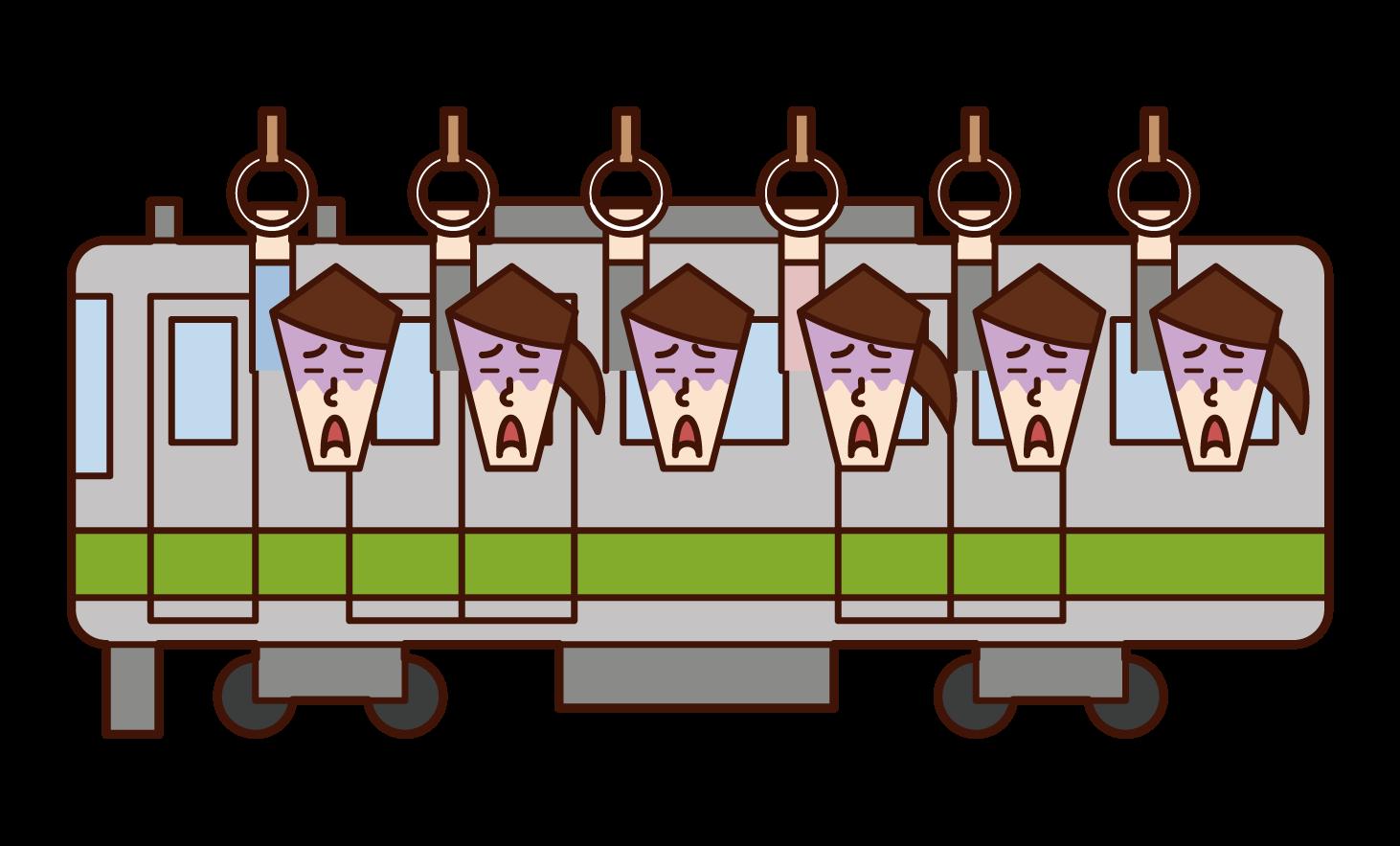 擁擠的火車和火車通勤的插圖