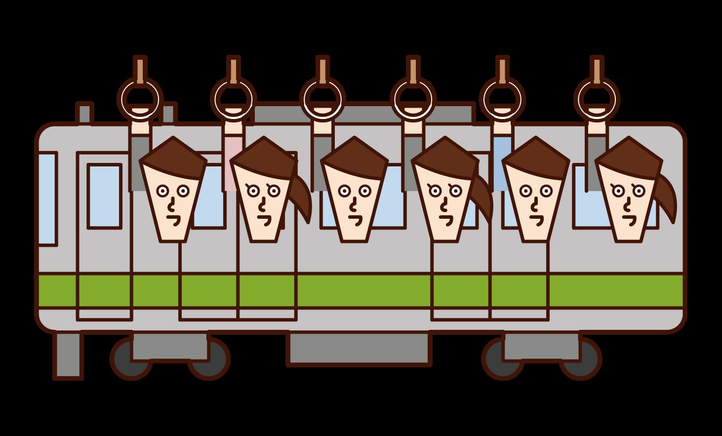 乘坐通勤列車的人的插圖