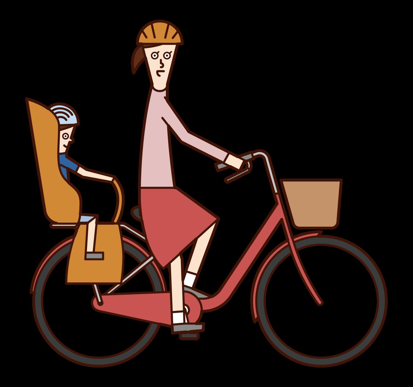자전거를 탈 때 아이들과 함께 달리는 사람 (여성)의 그림