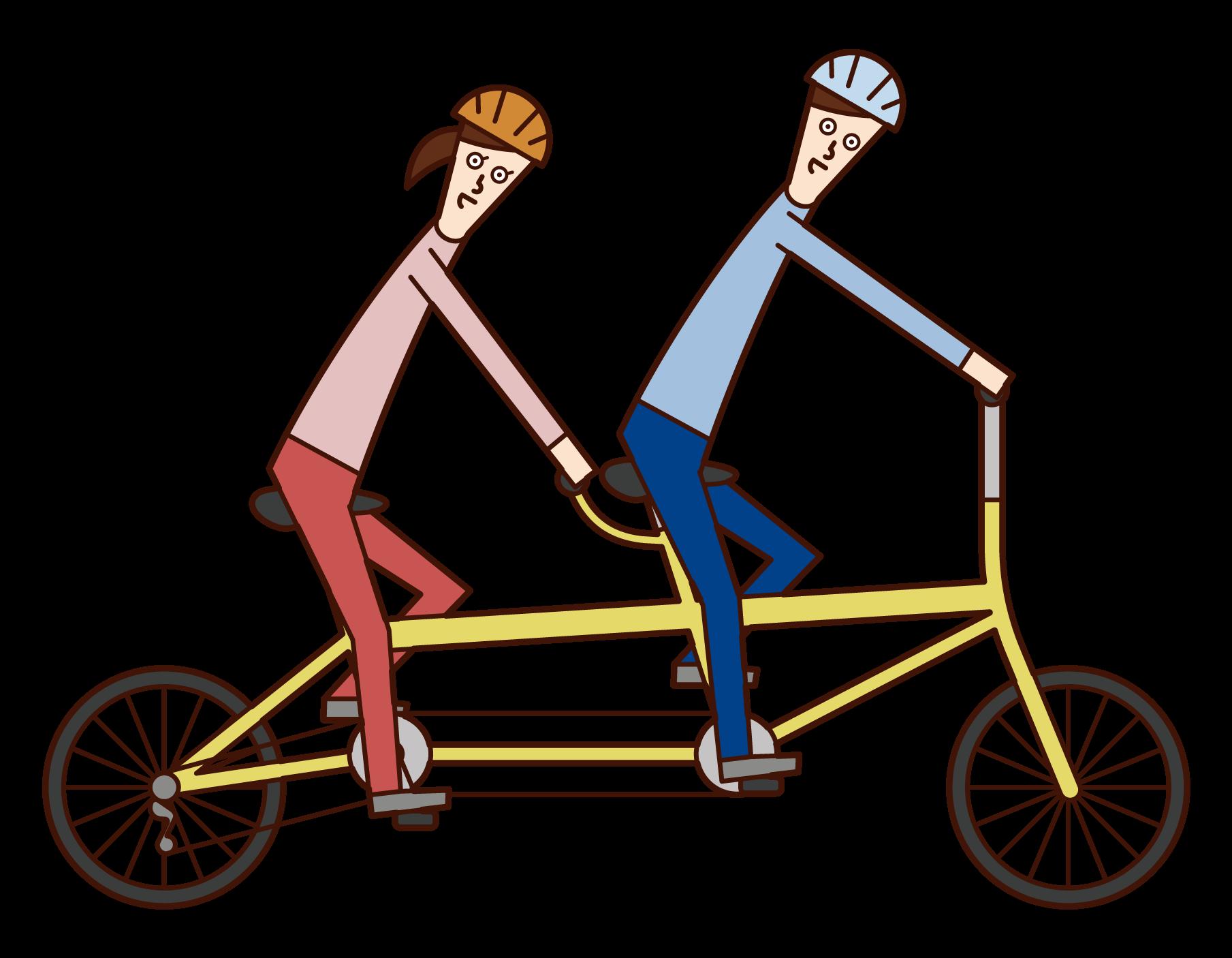 탠덤 자전거의 일러스트레이션