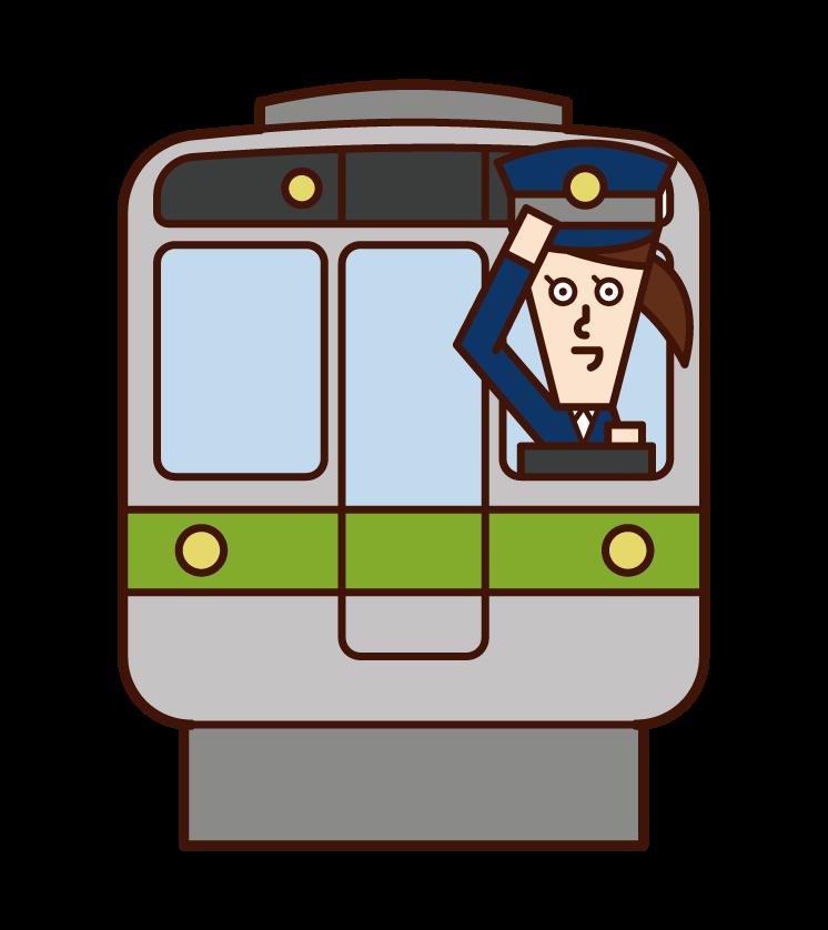 火車售票員和司機(女性)插圖