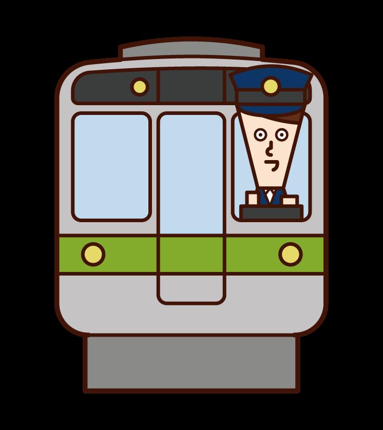 火車售票員和司機(男性)的插圖