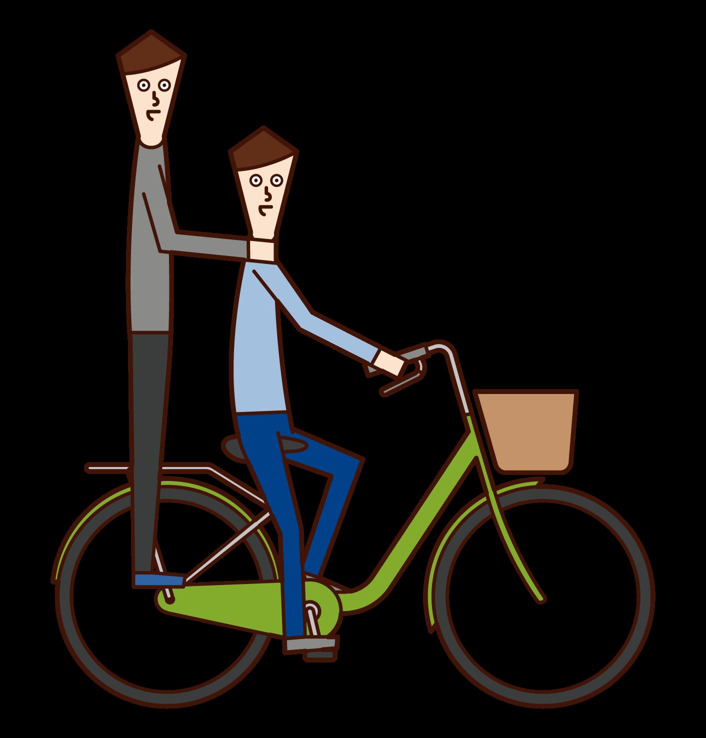 두 사람이 자전거를 타는 사람들의 일러스트