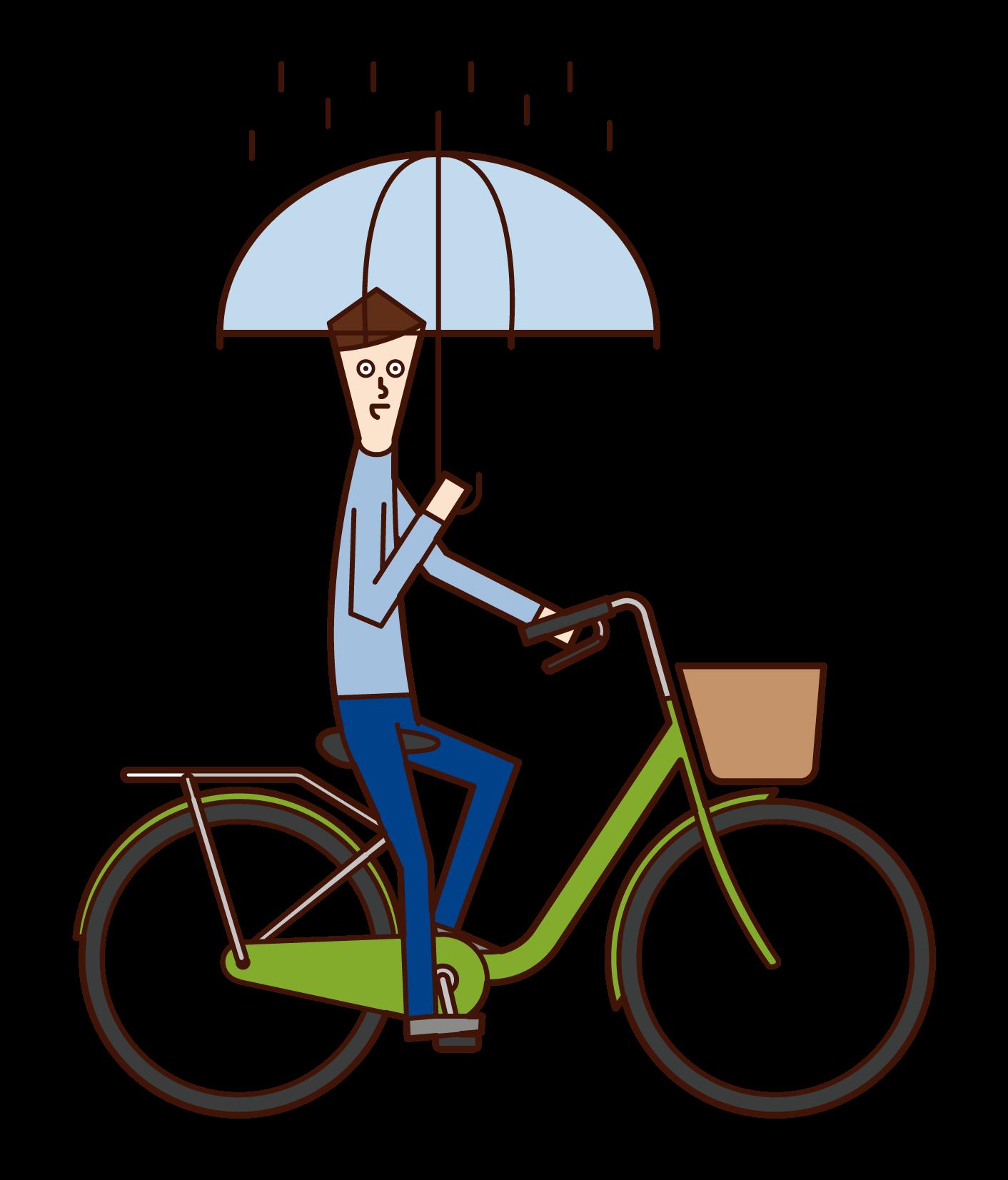 傘をさしながら自転車を運転する人(男性)のイラスト
