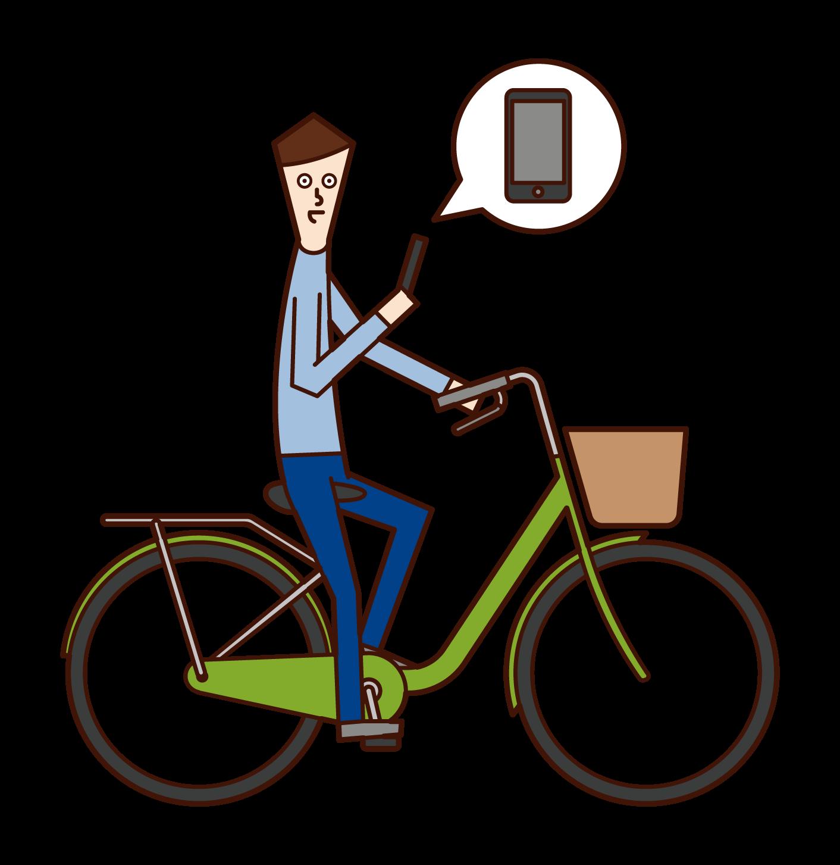 스마트폰을 사용하여 자전거를 운전하는 사람(남성)의 일러스트