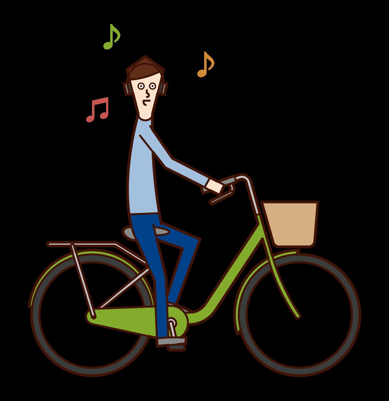 ヘッドフォンで音楽を聴きながら自転車を運転する人(男性)のイラスト