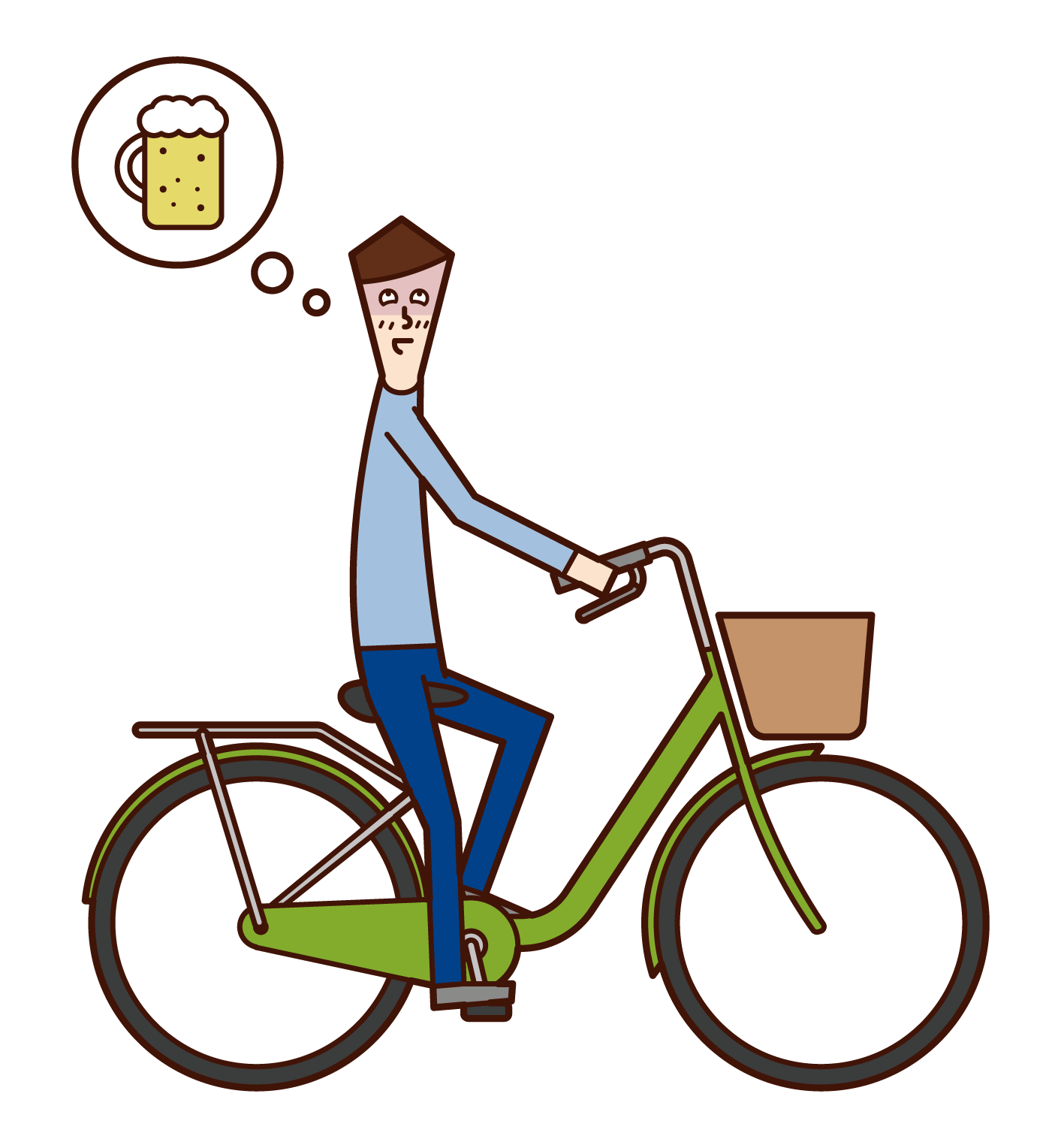 Illustration of a man driving drunk on a bicycle