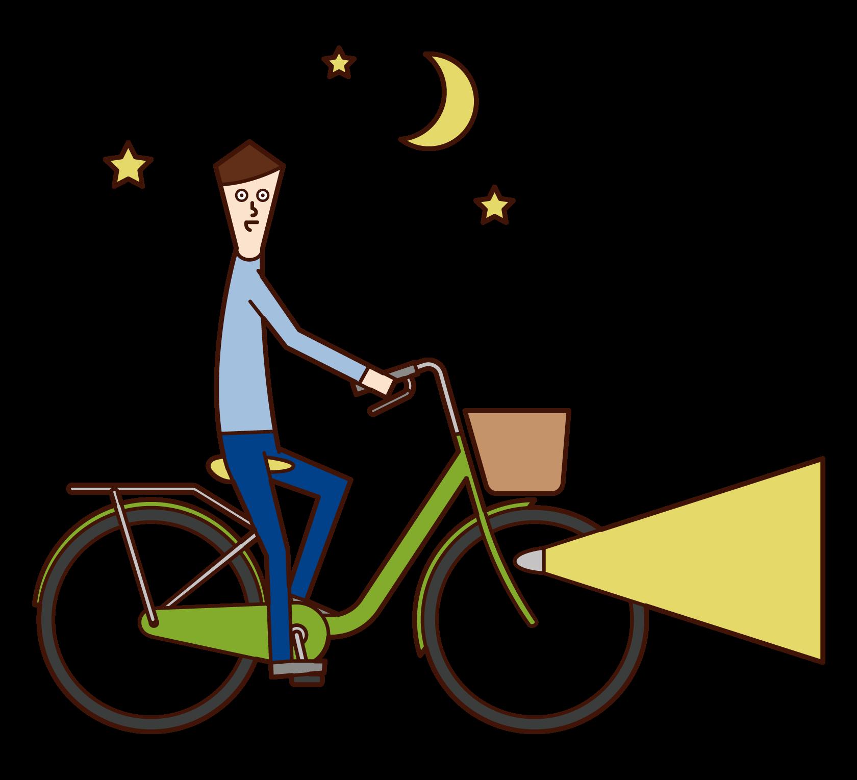 밤에 자전거를 점화하는 사람 (남성) 그림