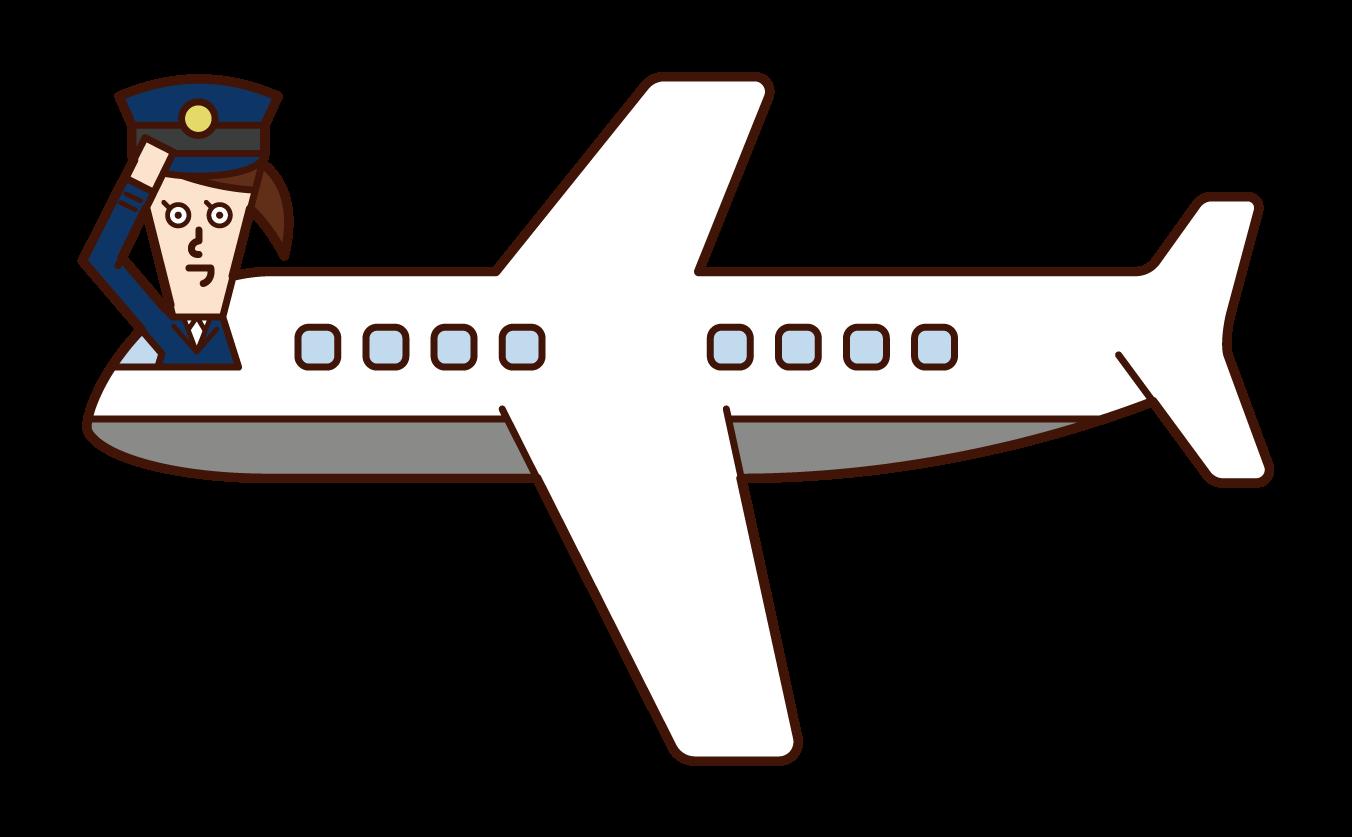 飛行機の機長・操縦士(女性)のイラスト