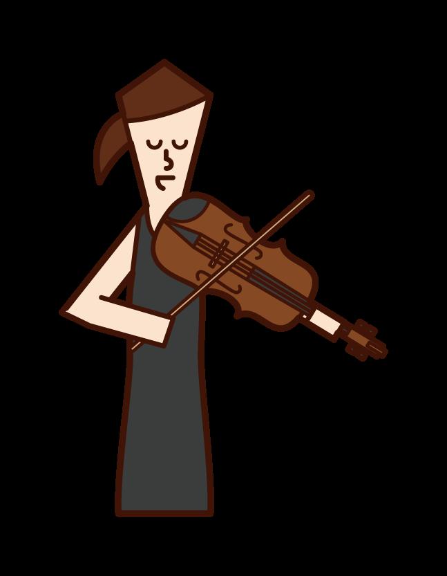 バイオリニスト・ヴィオリニスト(女性)のイラスト