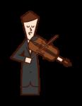 バイオリニスト・ヴィオリニスト(男性)のイラスト