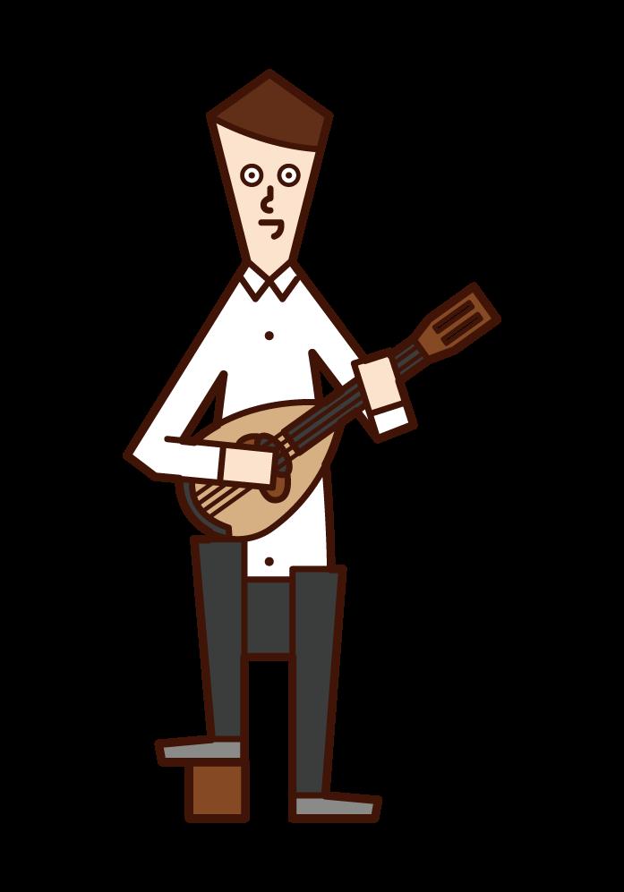 Illustration of a man (man) playing a mandolin