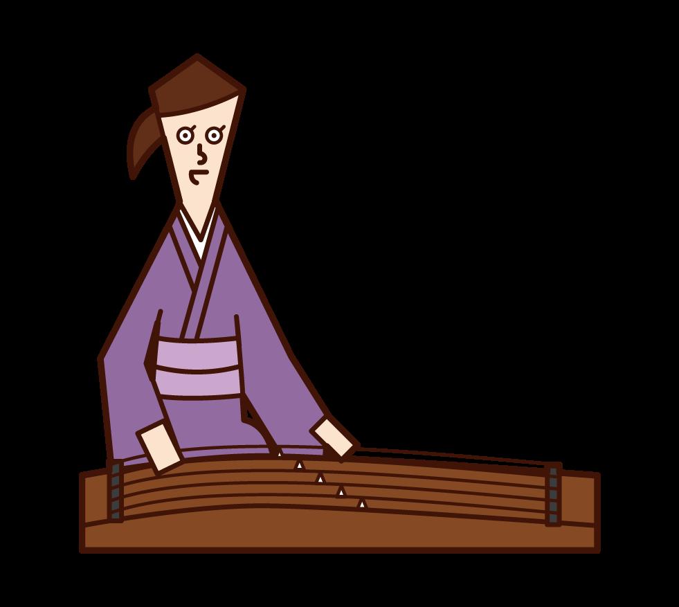 琴を演奏する人(女性)のイラスト