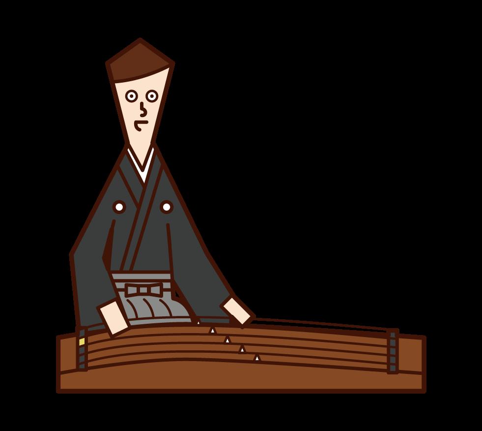 琴を演奏する人(男性)のイラスト