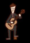 クラシックギターを演奏する人(男性)のイラスト