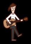 어쿠스틱 기타를 연주하는 사람 (여성) 일러스트