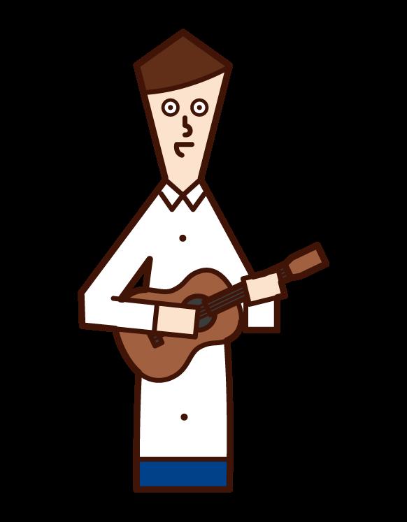 고대 음악을 연주하는 사람 (남성)의 그림