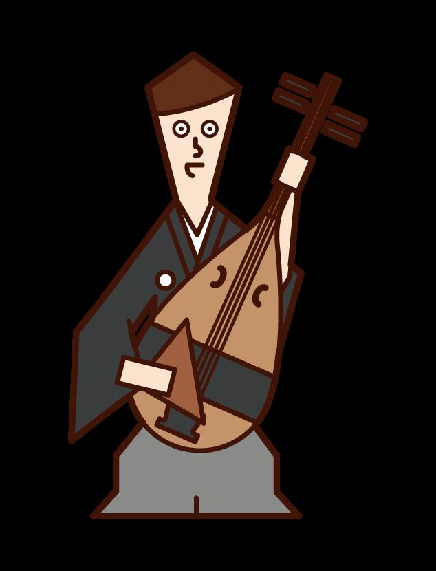 琵琶を演奏する人(男性)のイラスト