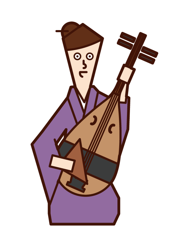 琵琶を演奏する人(女性)のイラスト