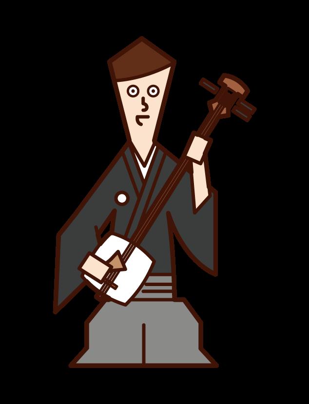 삼미선을 연주하는 사람(남성)의 일러스트