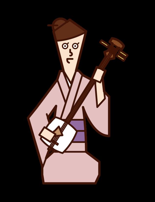 삼미선을 연주하는 사람(여성)의 일러스트
