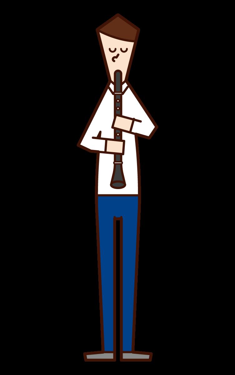 클라리넷을 연주하는 사람 (남성)의 그림