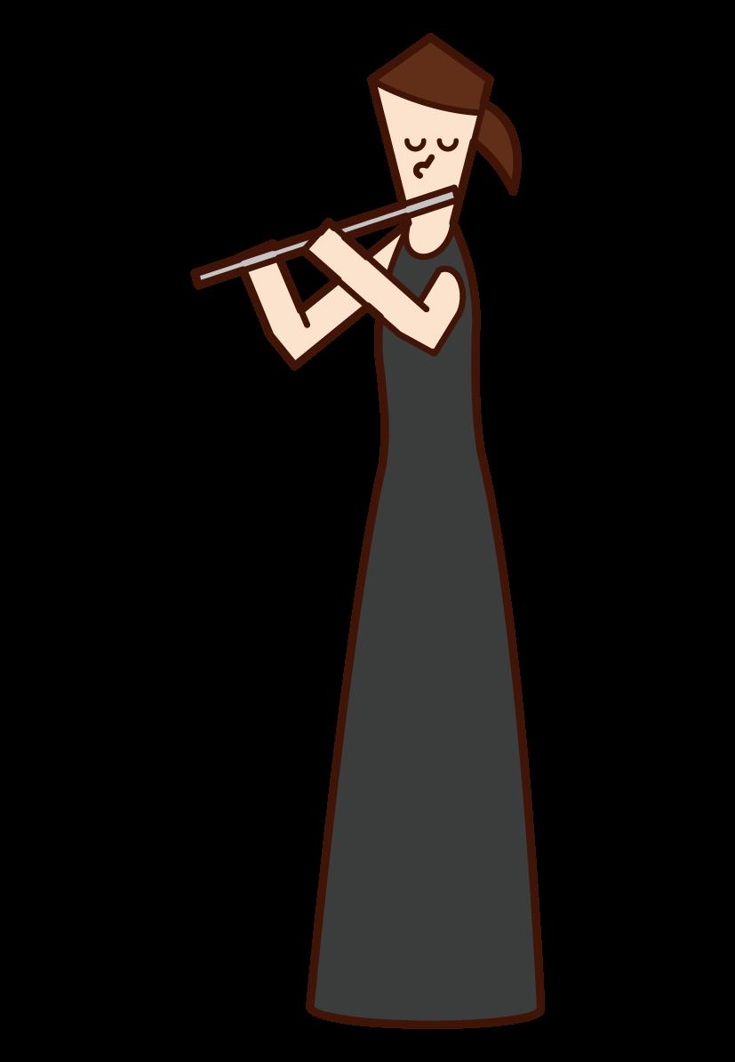 吹長笛的人(女性)的插圖