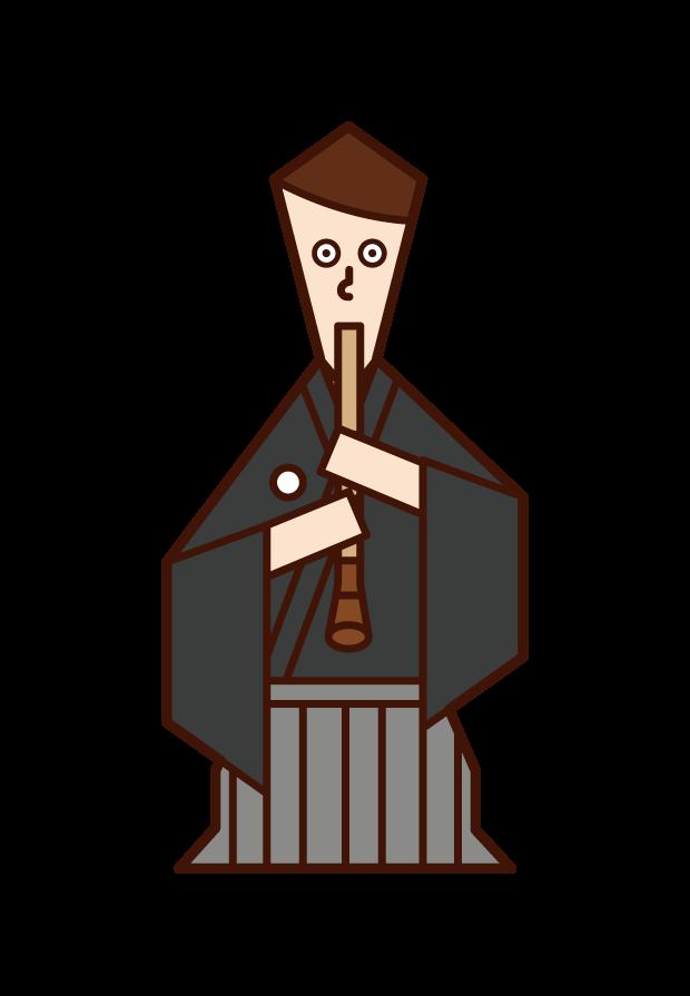 尺八を演奏する人(男性)のイラスト