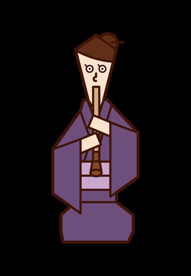 尺八を演奏する人(女性)のイラスト