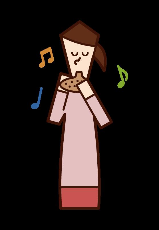オカリナを演奏する人(女性)のイラスト
