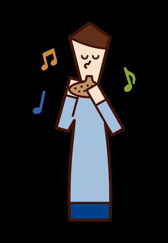オカリナを演奏する人(男性)のイラスト