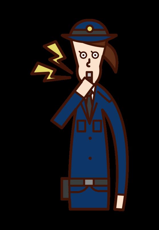 ホイッスルを吹く警察官(女性)のイラスト