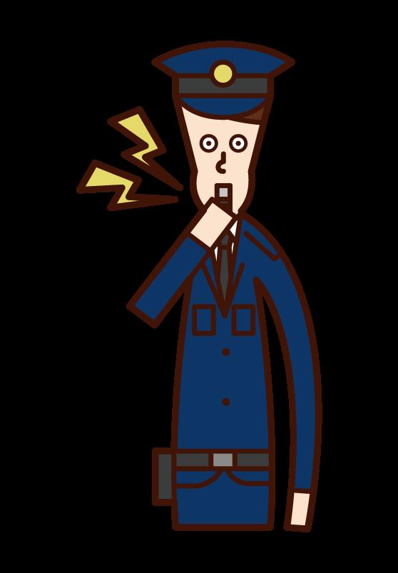 ホイッスルを吹く警察官(男性)のイラスト