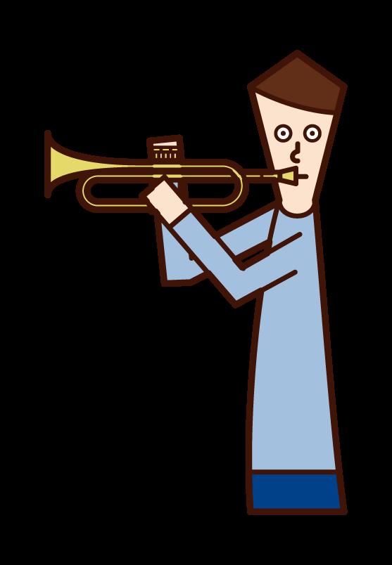 練習小號的人(男性)的插圖
