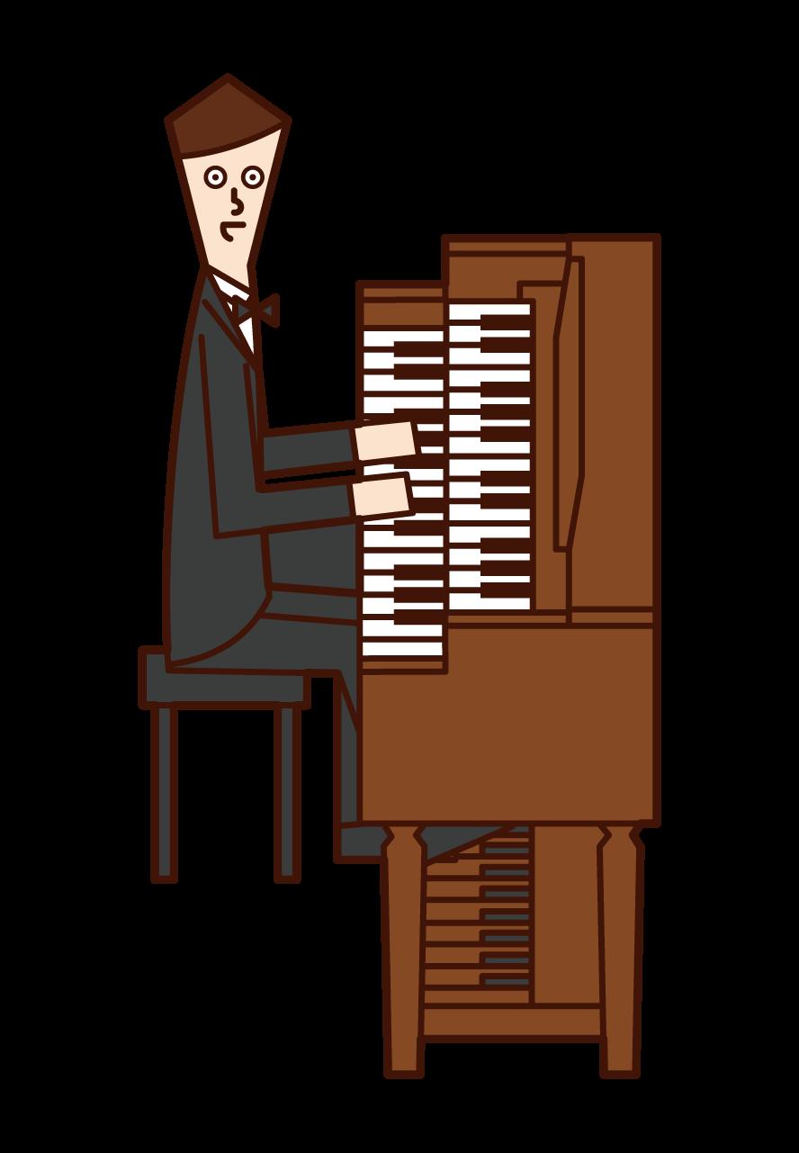 演奏管風琴的人(男性)的插圖