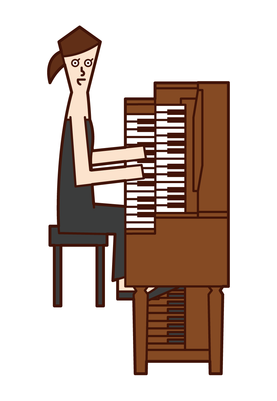 演奏管風琴的人(女性)的插圖