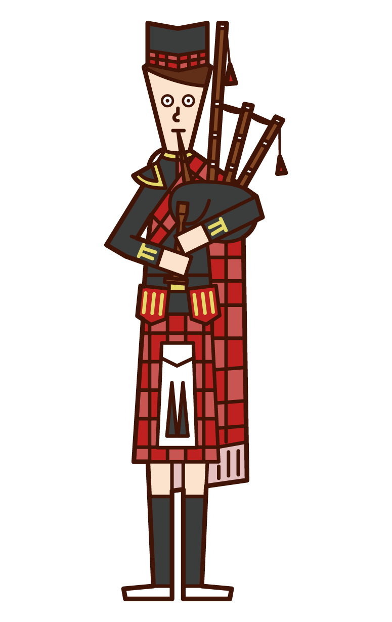 Illustration of a man playing a bagpipe