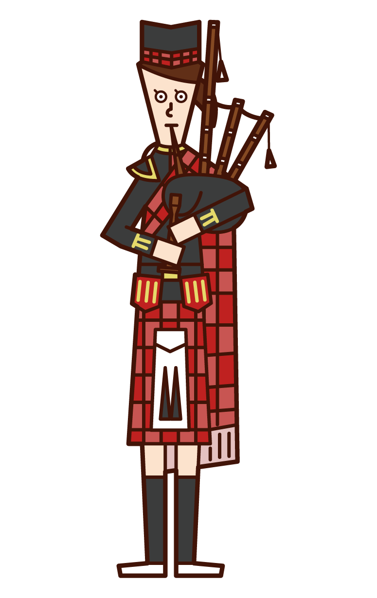 Illustration of a woman playing a bagpipe