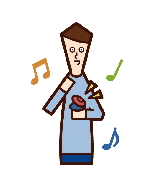 Illustration of a child (boy) playing castanets
