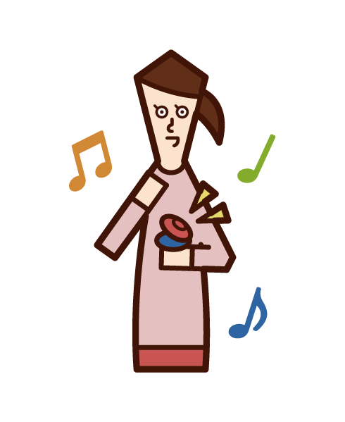 Illustration of a child (girl) playing castanet